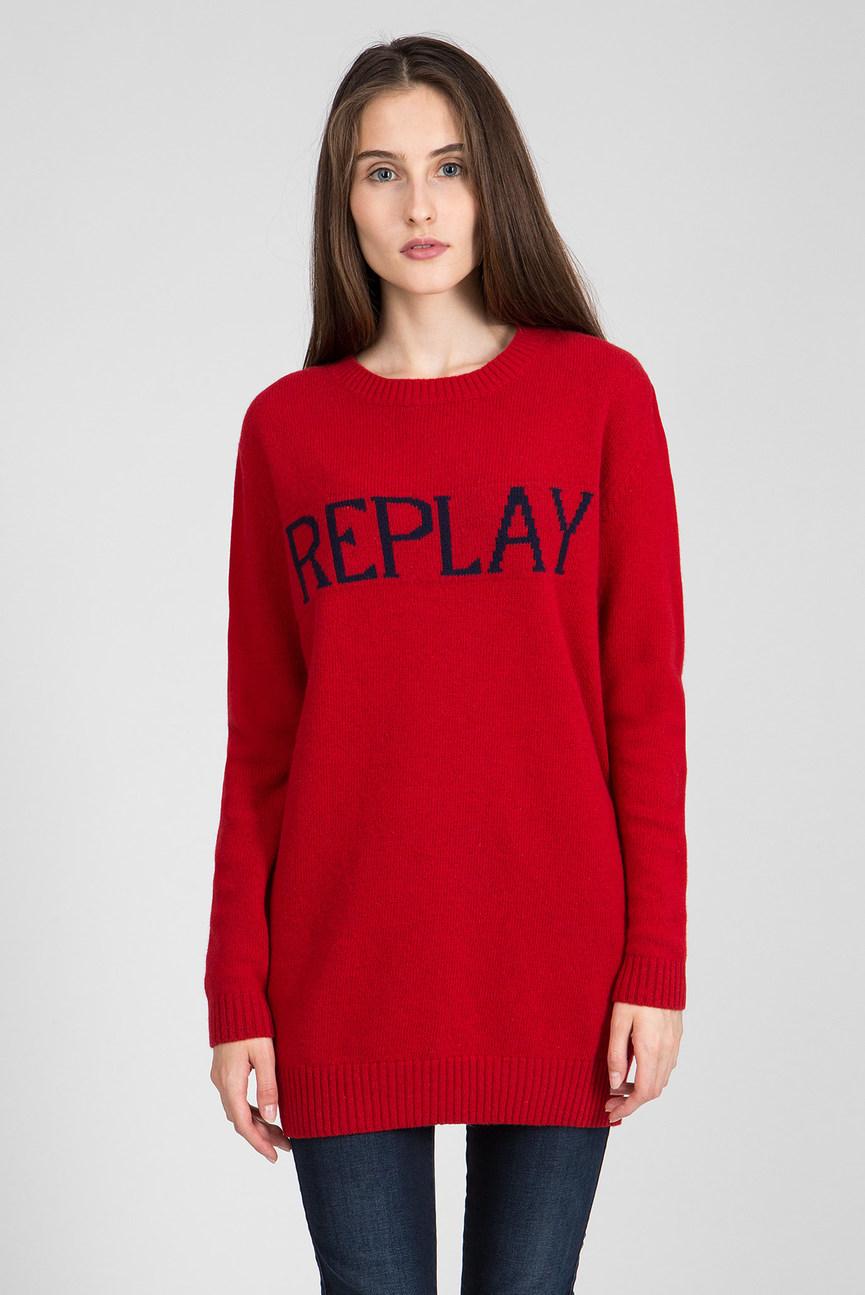 Женский красный удлиненный свитер