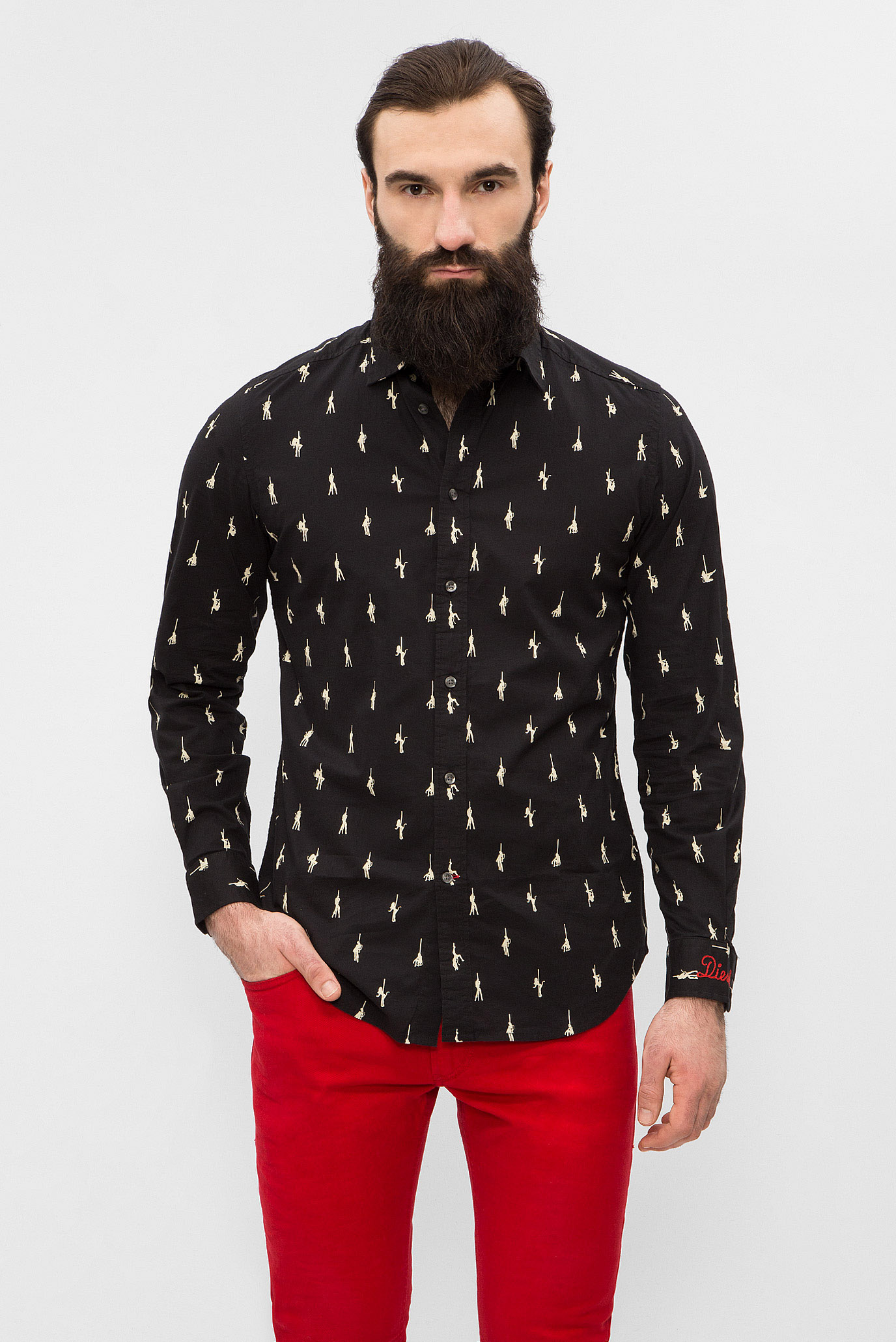 e85d3a4ee6c Купить Мужская черная рубашка с принтом Diesel Diesel 00S8A1 0GAQY – Киев