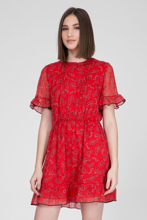 Женское красное платье с абстрактным узором TJW FRILL HEM SHORTSLEEVE