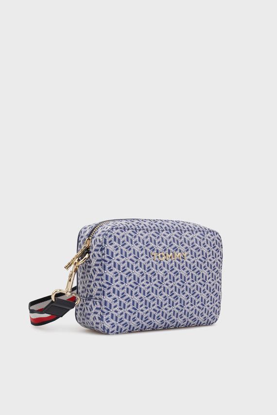 Женская синяя сумка через плечо с принтом ICONIC