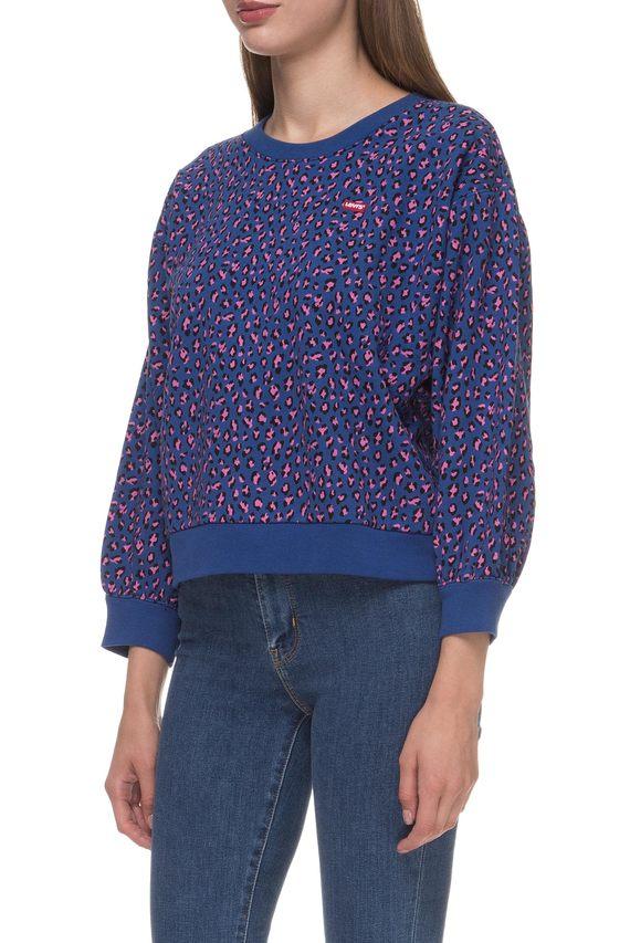 Женский синий свитшот с принтом