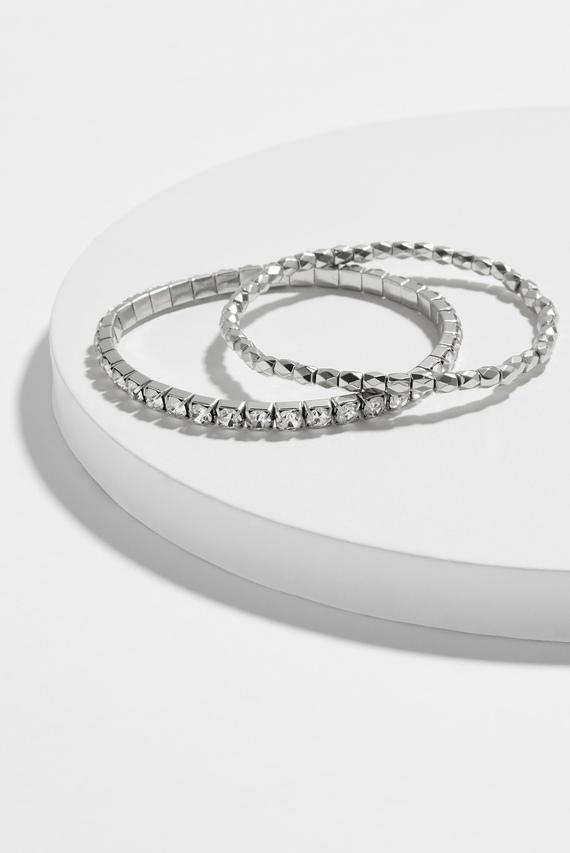 Женские серебристые браслеты (2 шт) CUPCHAIN BEAD STRETCH
