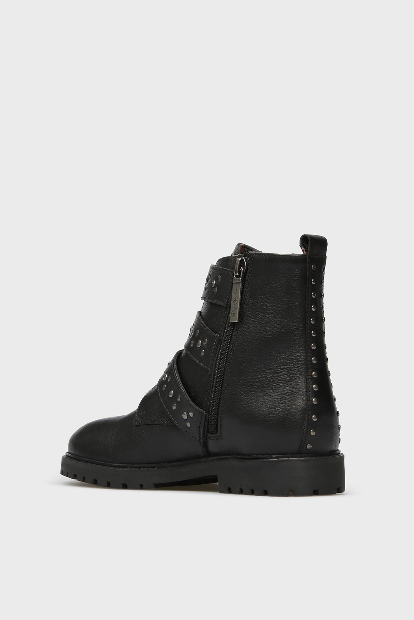 Детские черные кожаные ботинки Pepe Jeans