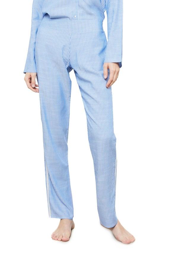 Женские голубые брюки в полоску SIBIL
