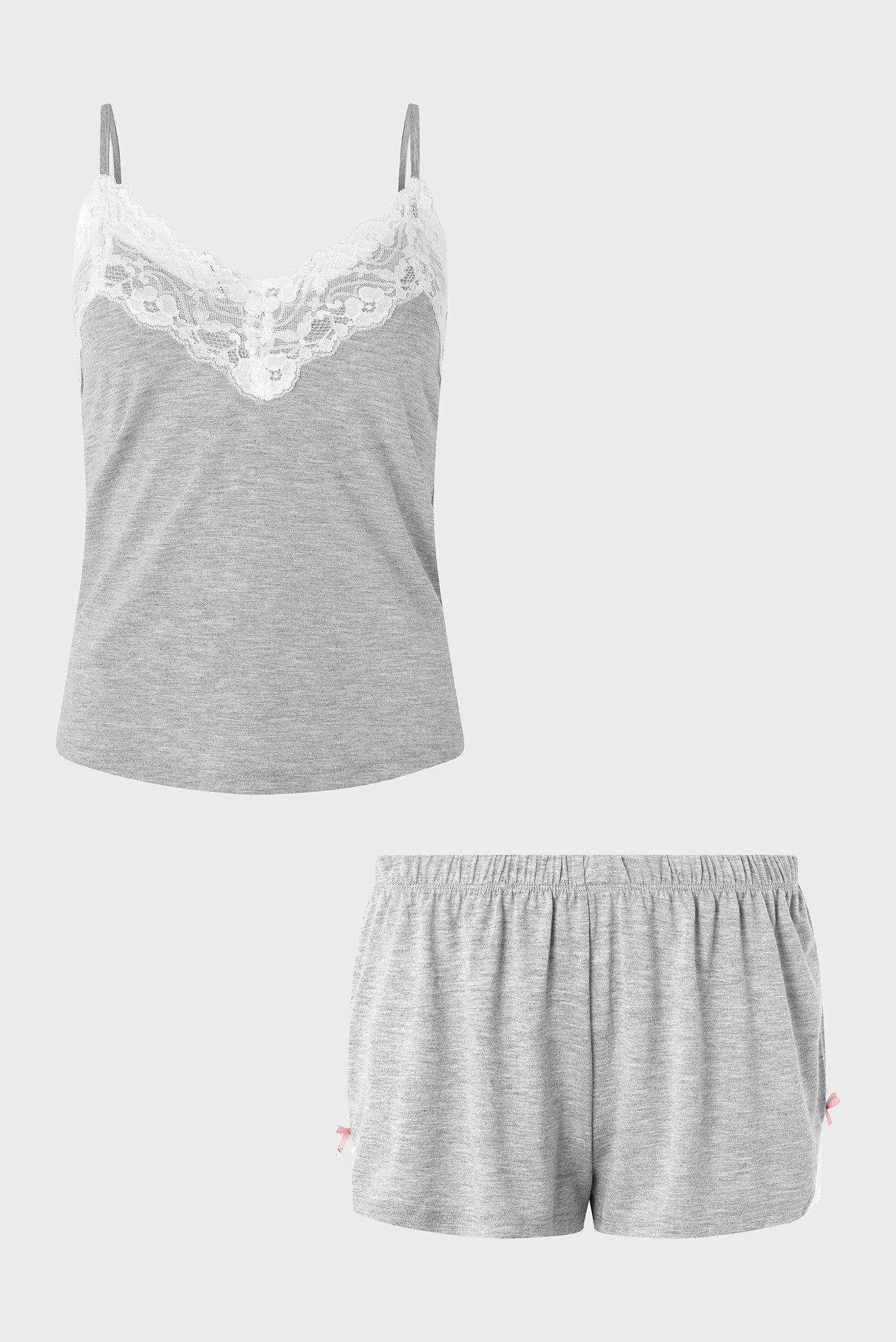 Женская серая пижама (топ, шорты) Teya Plain Vest Accessorize