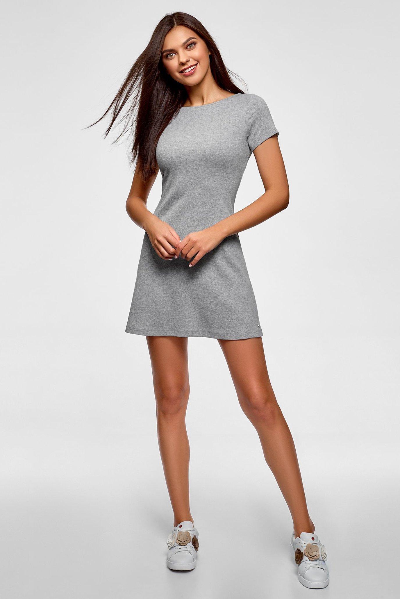 Женское серое платье Oodji