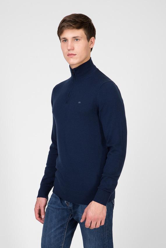 Мужская темно-синяя шерстяная кофта SUPERIOR WOOL ZIP-MOCK