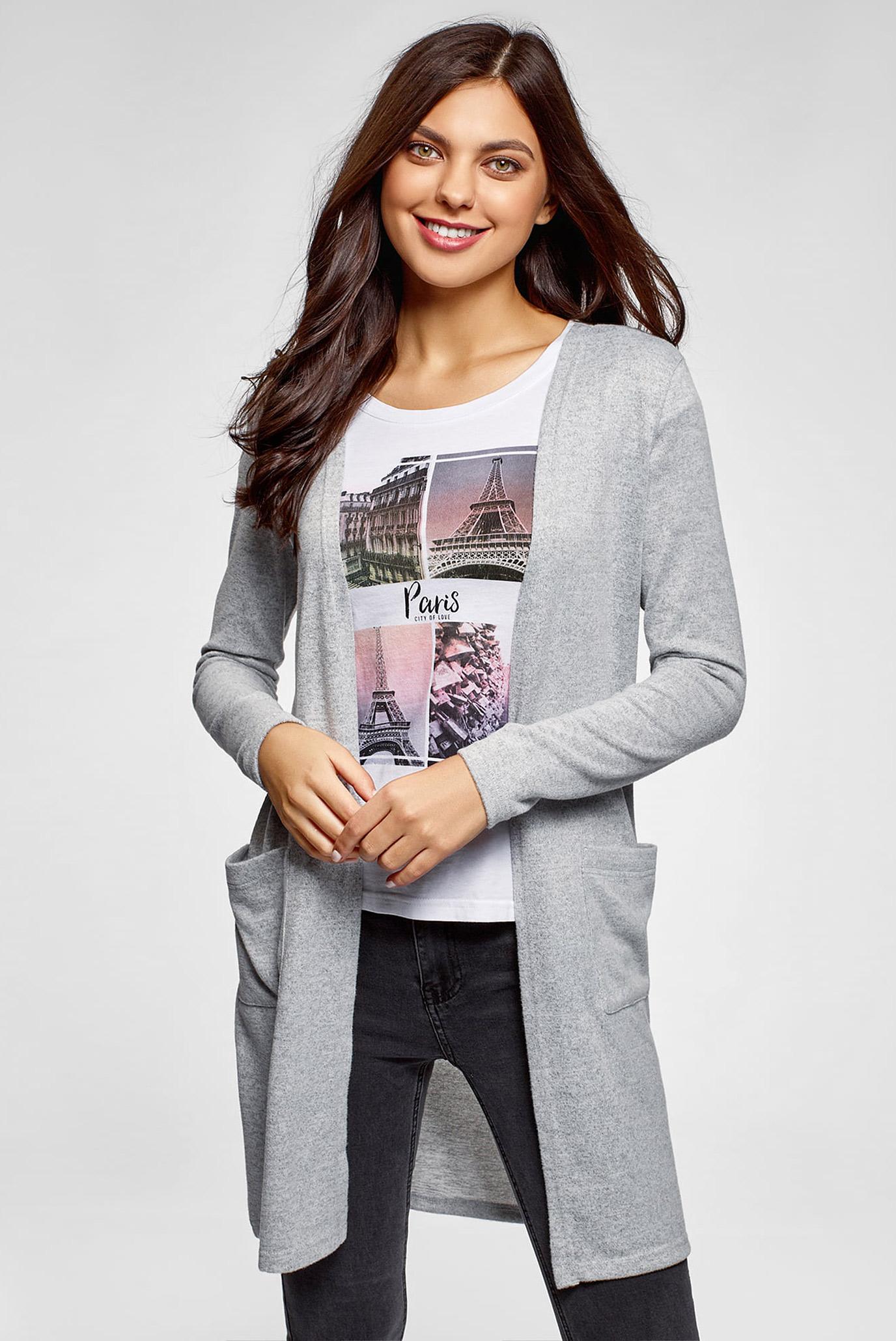 Женский серый кардиган 1