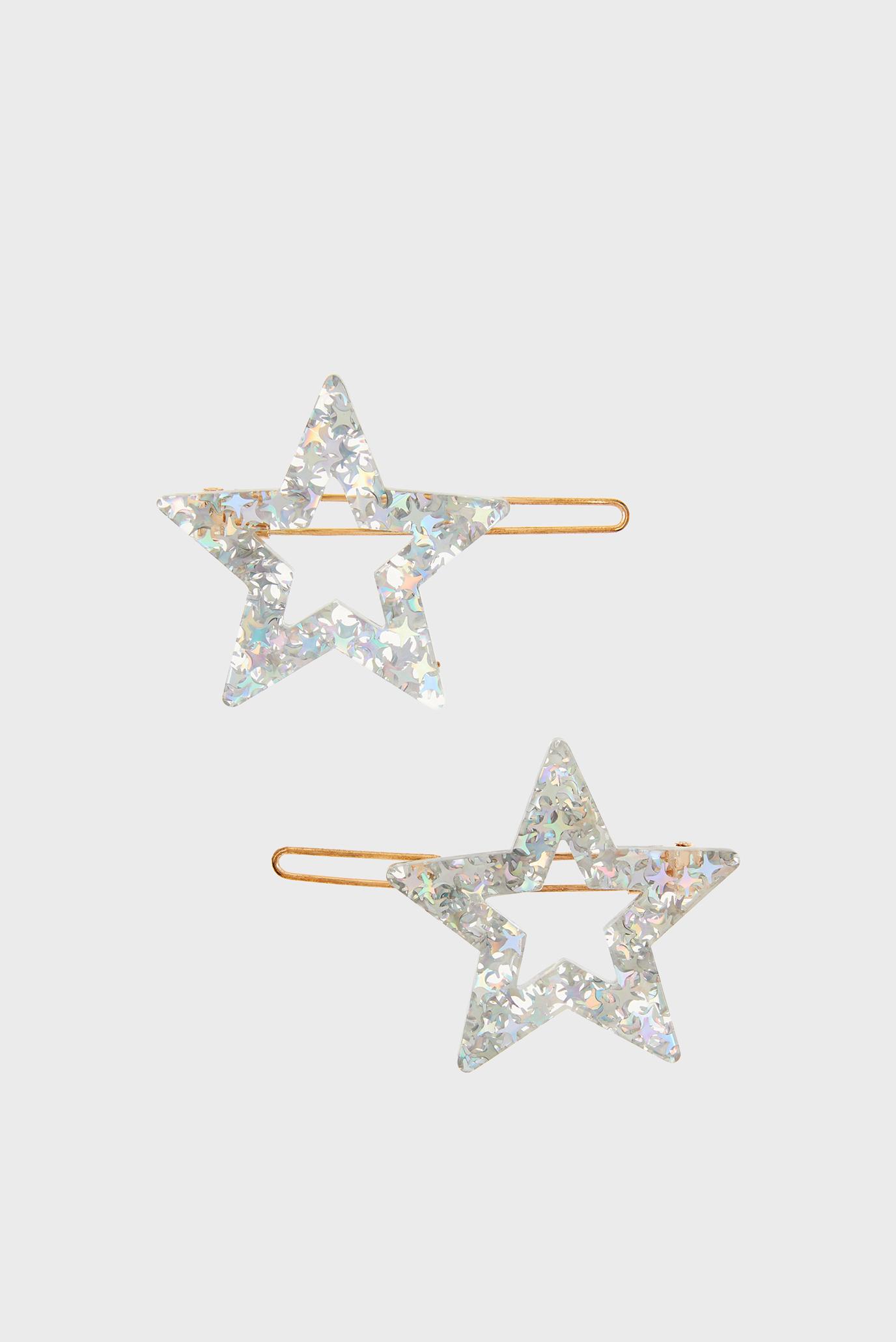 Детские серебристые заколки STAR RESIN SLIDES (2 шт) Accessorize