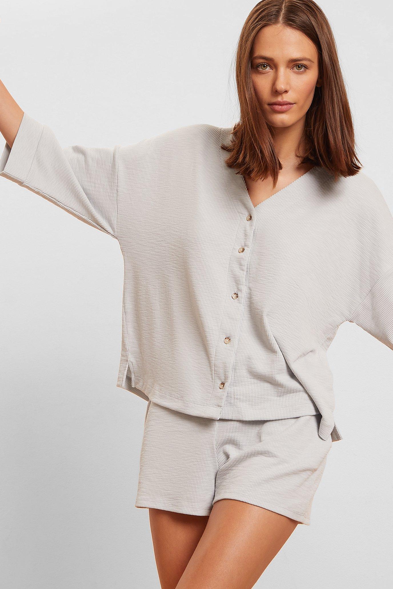 Женская светло-серая рубашка короткий рукав AGATHA 1