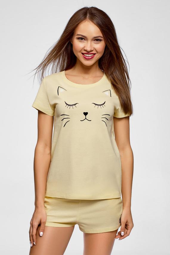 Женская желтая пижама (футболка, шорты)