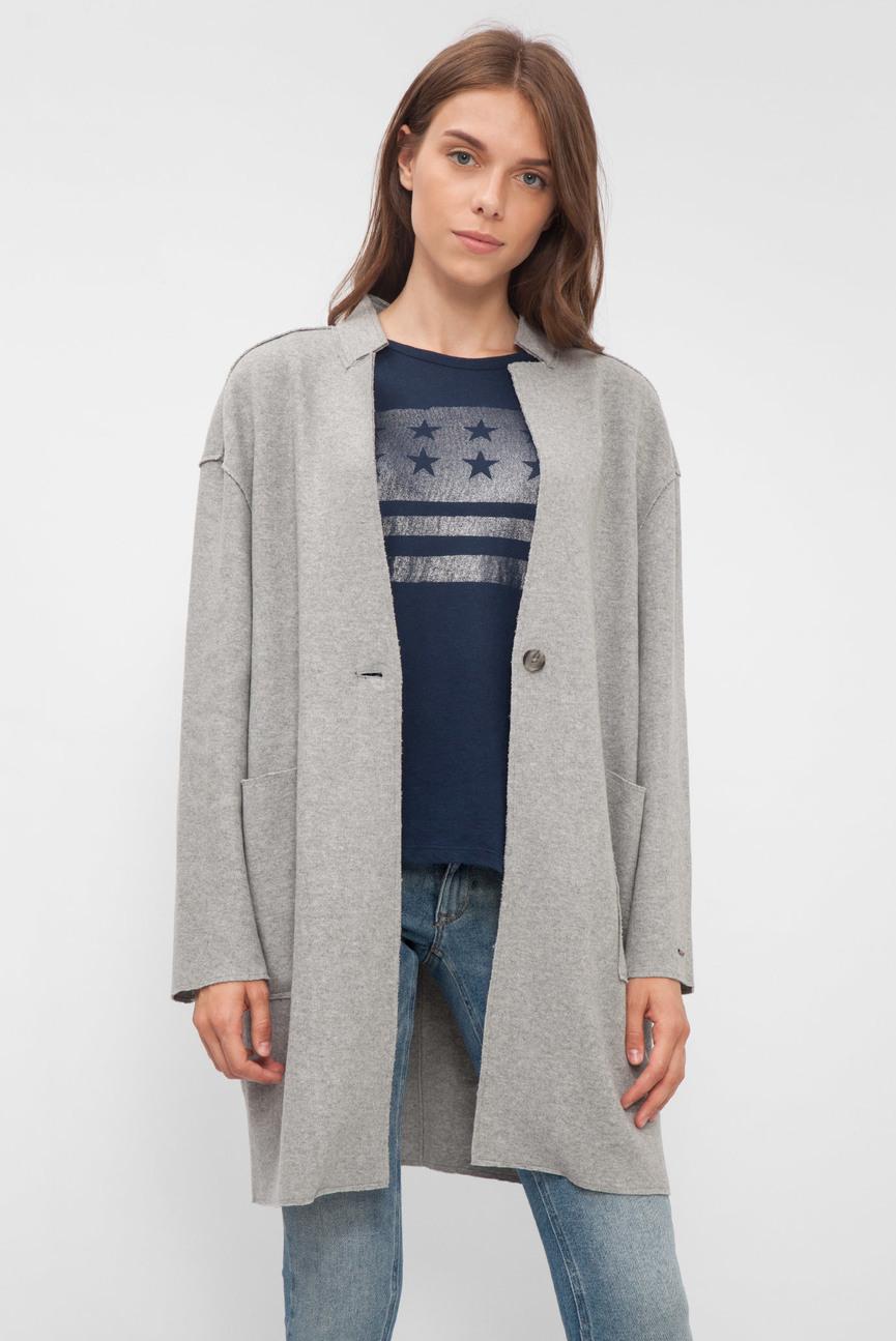 Женское серое трикотажное пальто