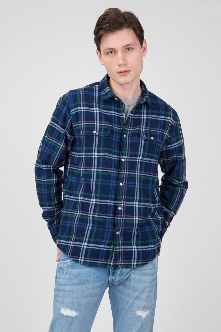 Мужская синяя рубашка в клетку CLIFFORD