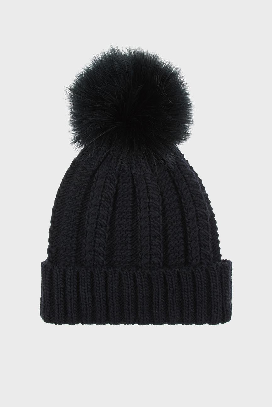 Женская черная шапка LUXE POM BEANIE