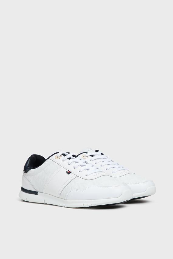 Женские белые кожаные кроссовки TOMMY JACQUARD LIGHT