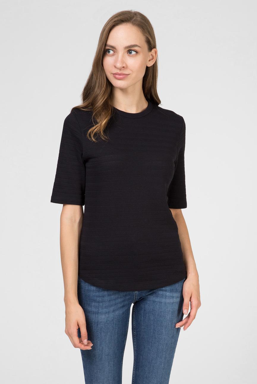 Женская черная футболка POINTELLE