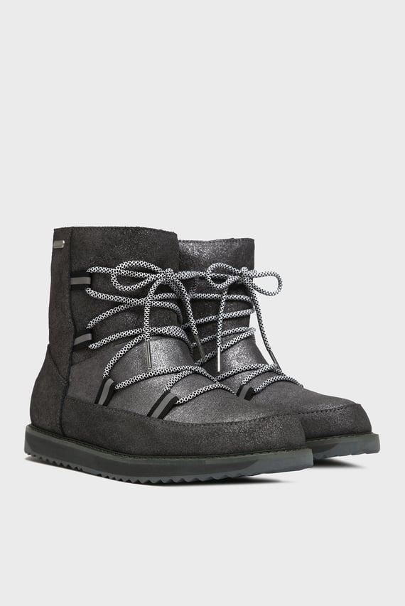 Женские серебристые замшевые ботинки с мехом Rutledge