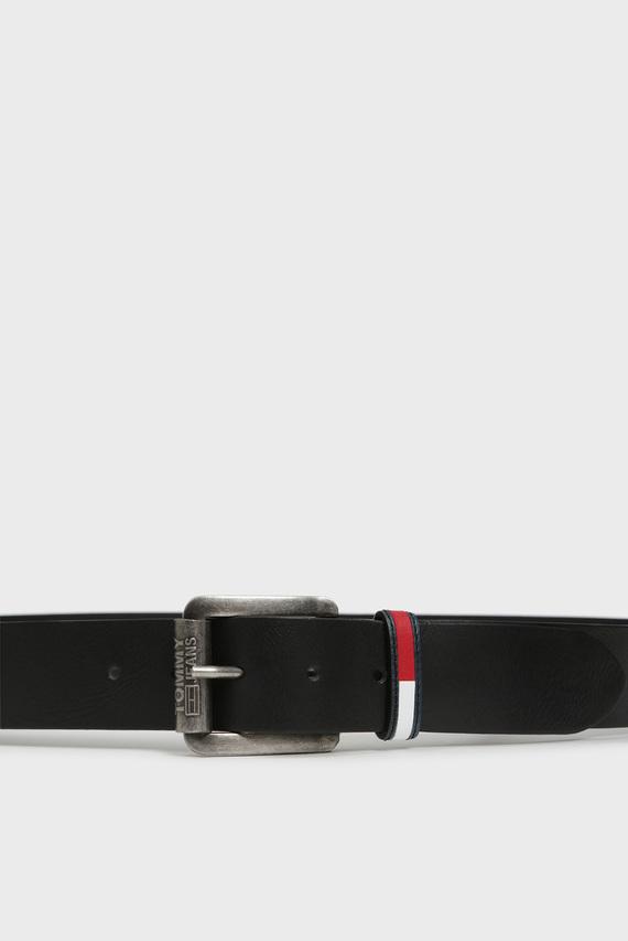 Мужской черный кожаный ремень TJM ROLLER LOGO