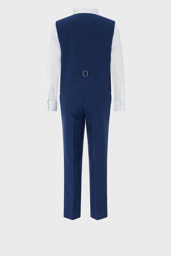 Детский синий костюм Oscar (жилет, рубашка, брюки, галстук)