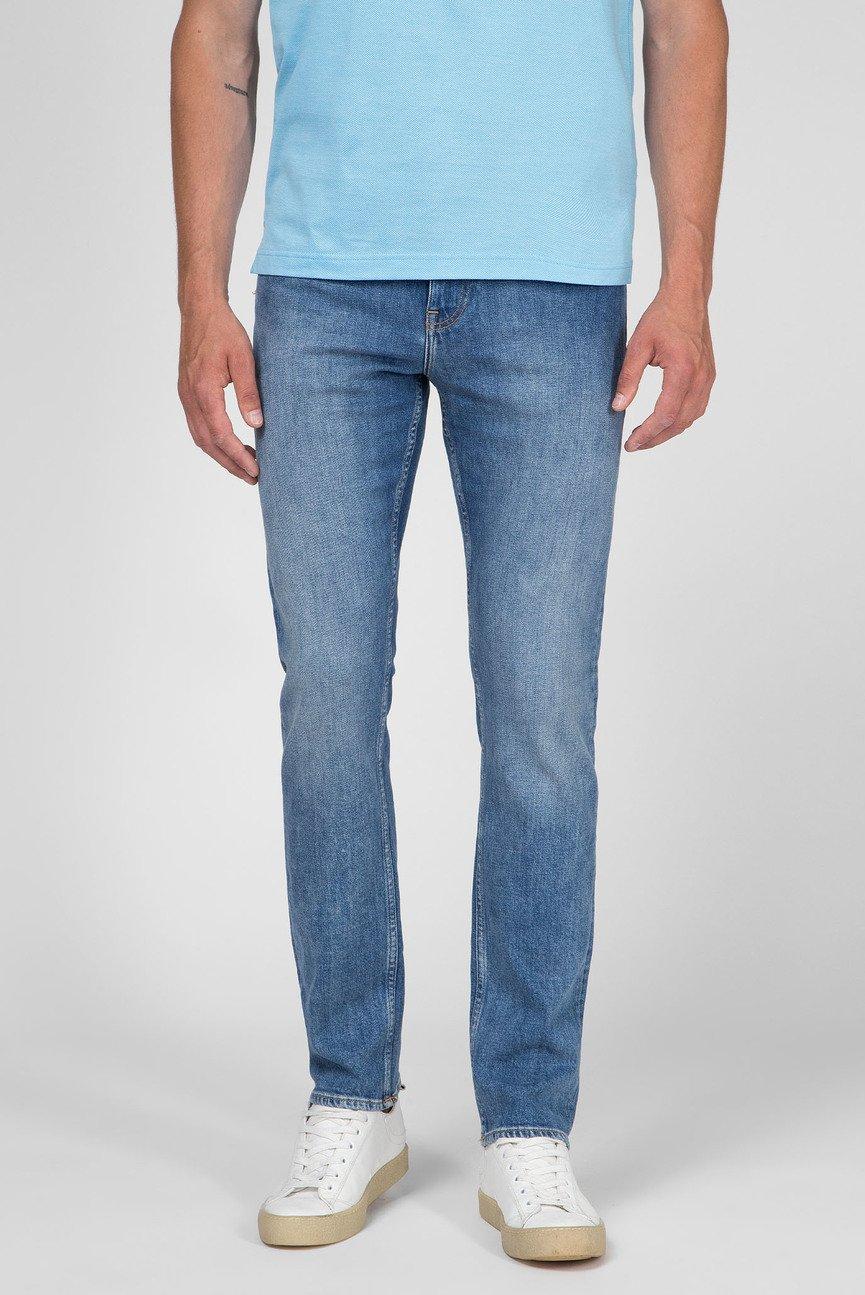 Мужские синие джинсы STRAIGHT FIT BLUE STRETCH DENIM