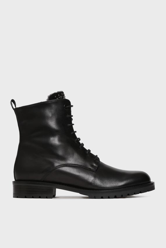 Женские черные кожаные ботинки GISELLE