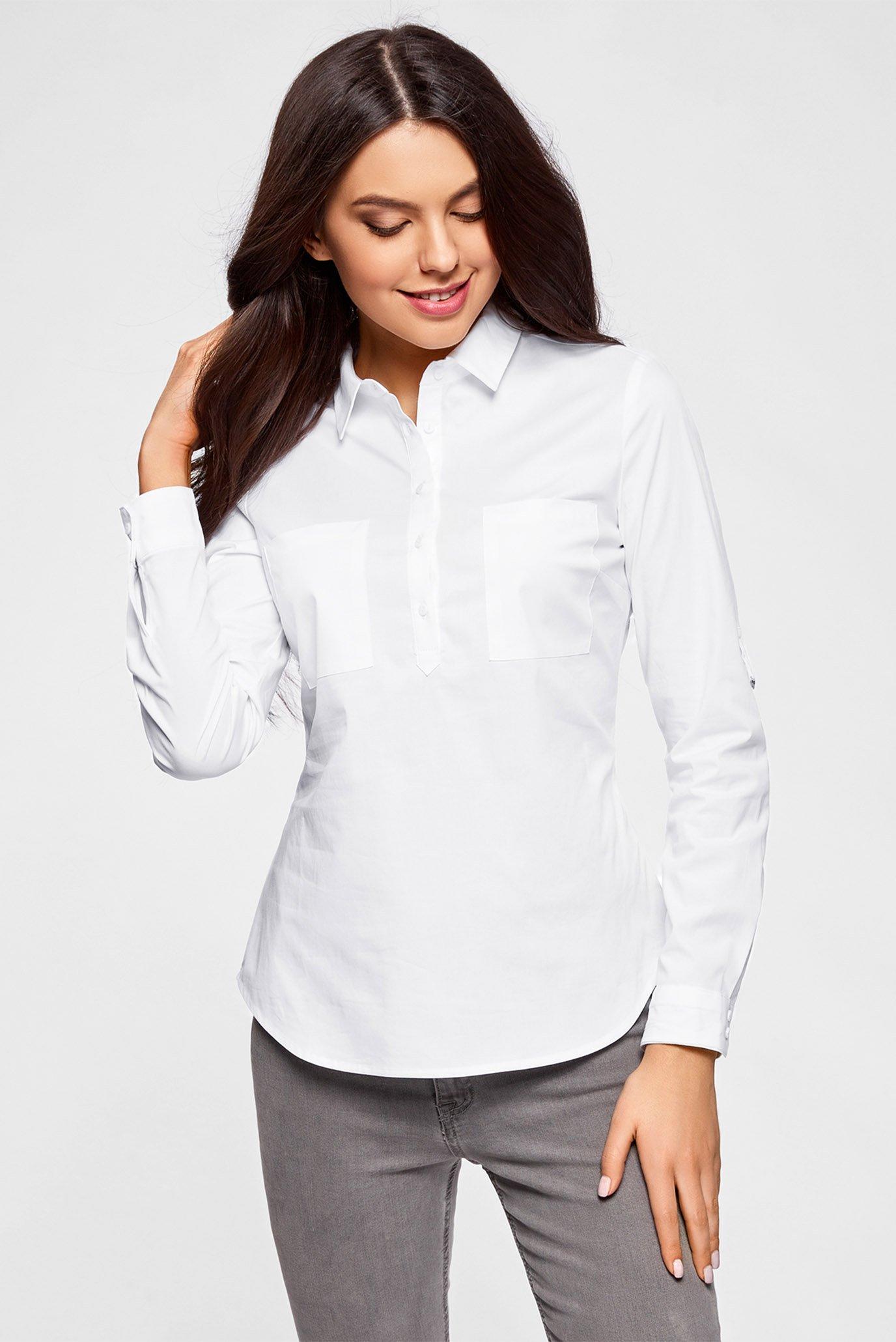 b648615f6ec Купить Женская белая рубашка Oodji Oodji 11403222B 42468 1000N – Киев