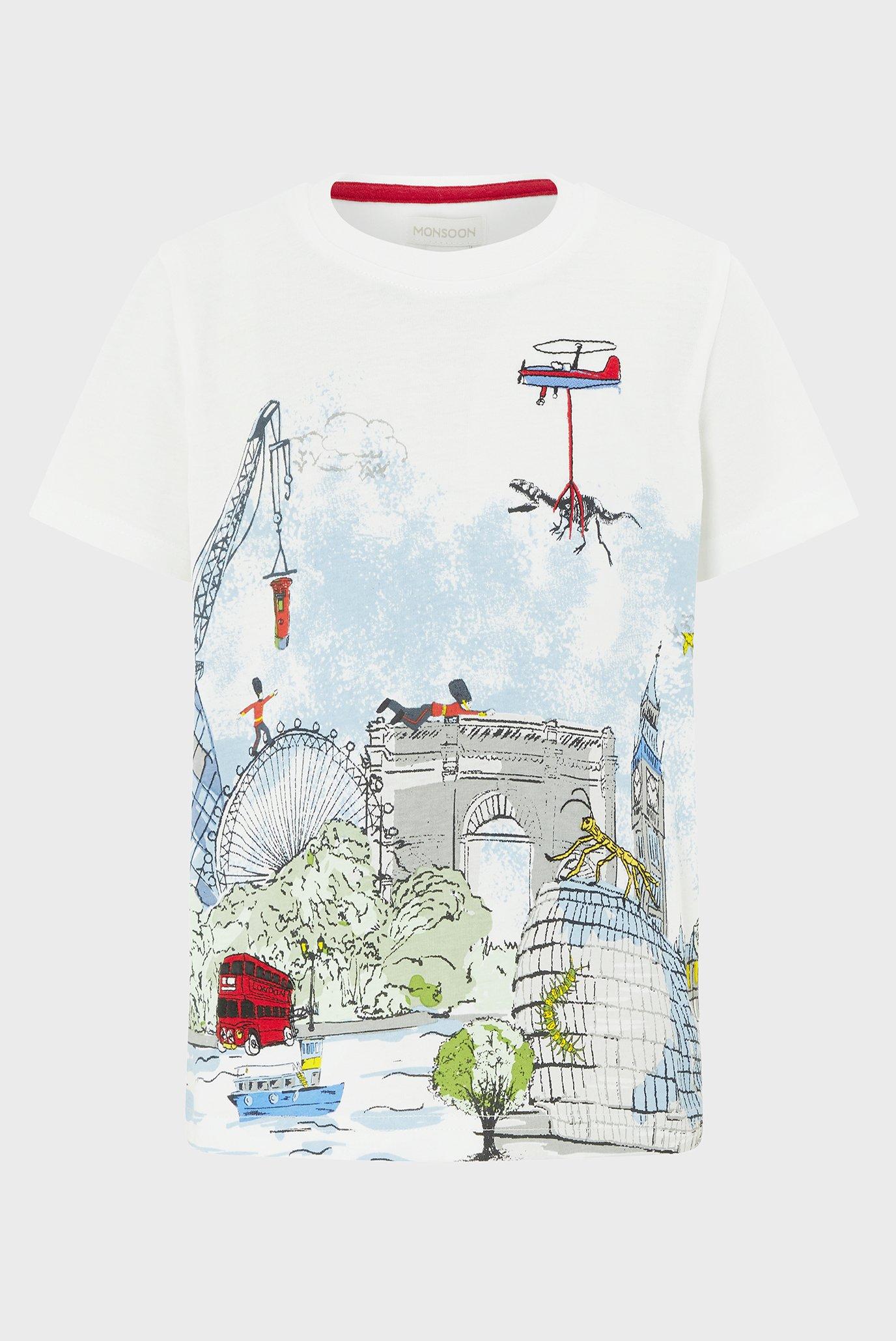 Купить Детская бежевая футболка Louis London Tee Monsoon Children Monsoon Children 616233 – Киев, Украина. Цены в интернет магазине MD Fashion