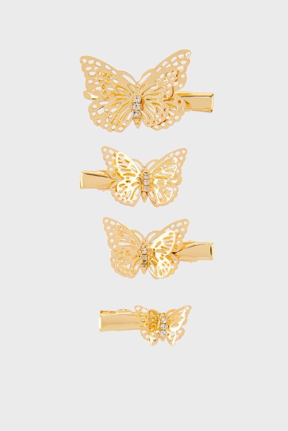 Детские золотистые заколки  Simone Butterfly (4 шт)