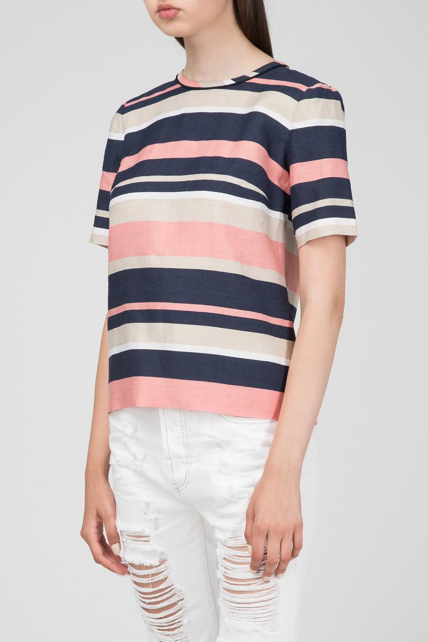 Женская розовая блуза в полоску