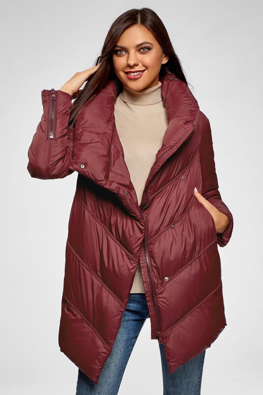 Женская бордовая стеганная куртка