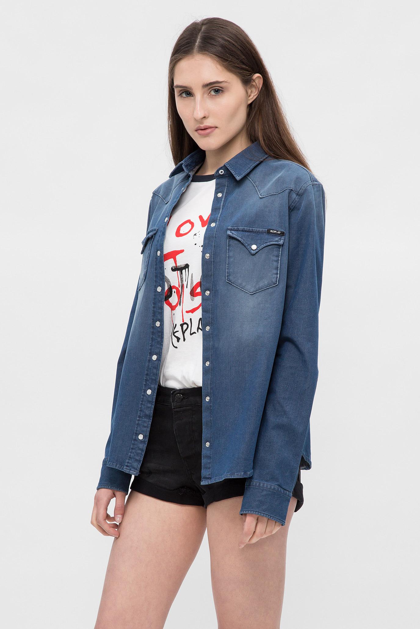 Купить Женская синяя джинсовая рубашка Replay Replay W2962 .000.39B 357 – Киев, Украина. Цены в интернет магазине MD Fashion