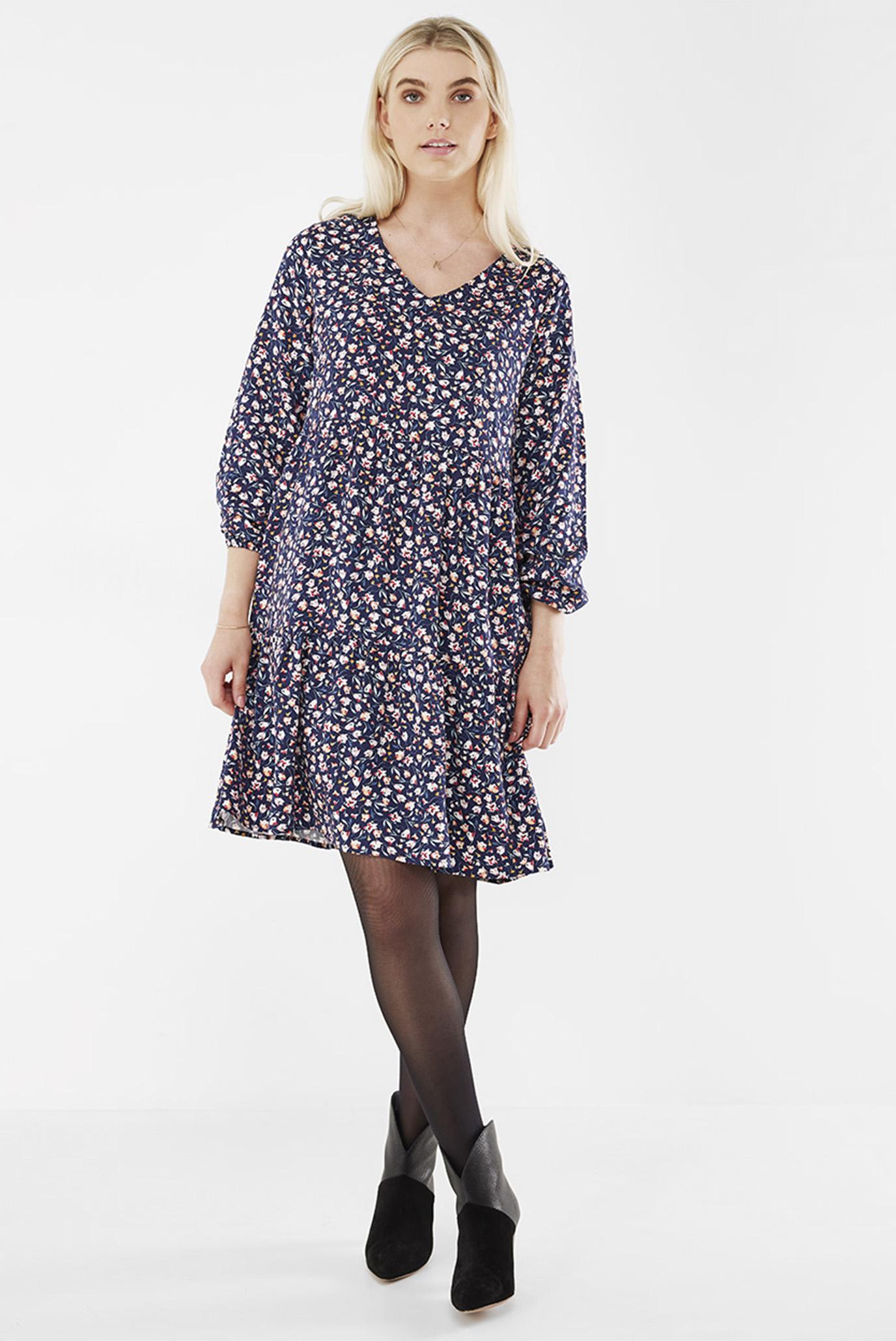 Женское темно-синее платье с узором 1