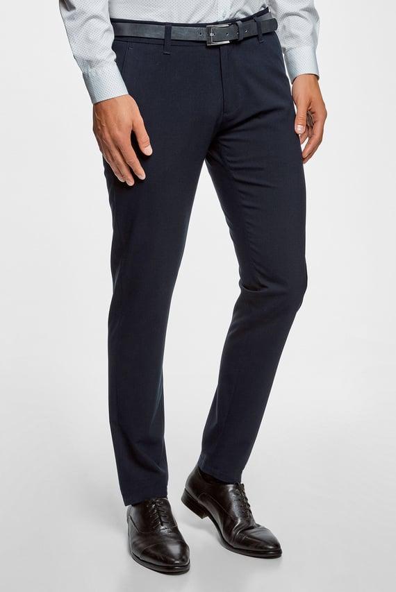 Мужские темно-синий брюки с ремнем