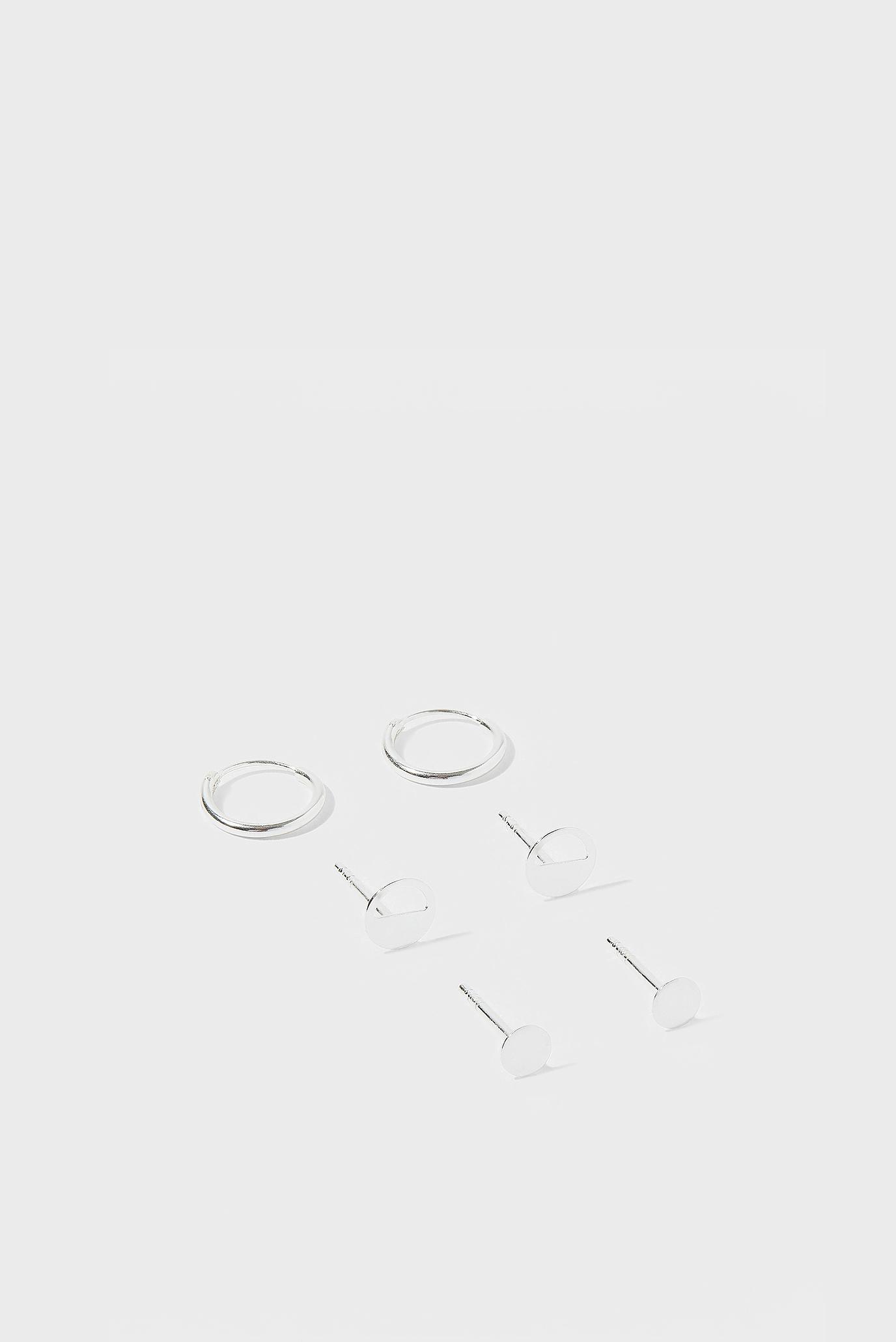 Жіночі срібні сережки (3 пари) MOON PHASE 1