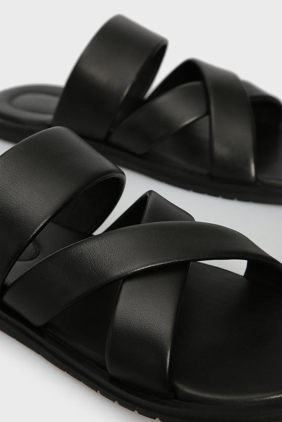 Мужские черные кожаные слайдеры MXAB0024M