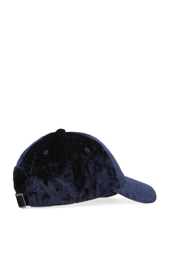 Женская синяя бархатная кепка