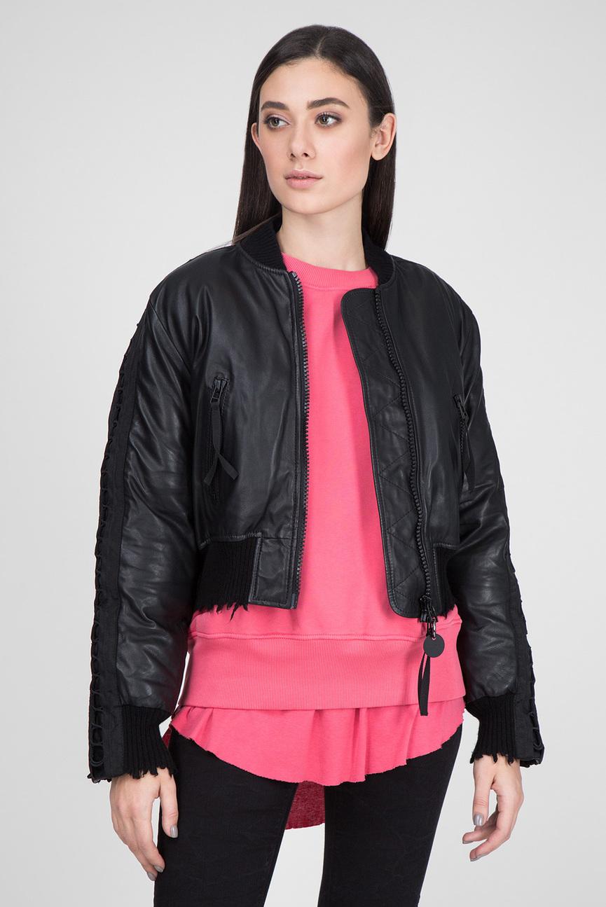 Женский черный кожаный бомбер L-WICA