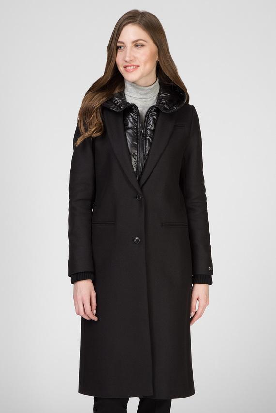Женское черное шерстяное пальто BELLE