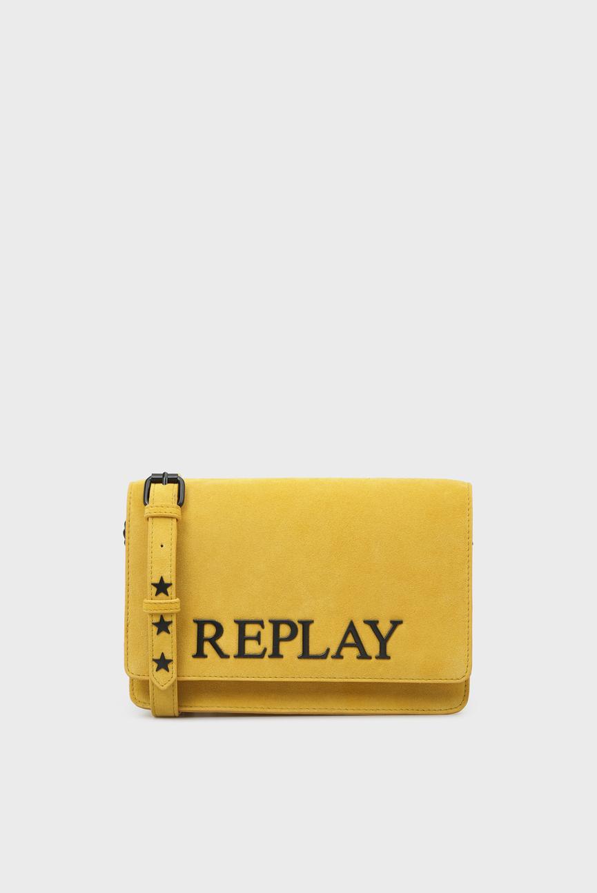Женская желтая замшевая сумка через плечо