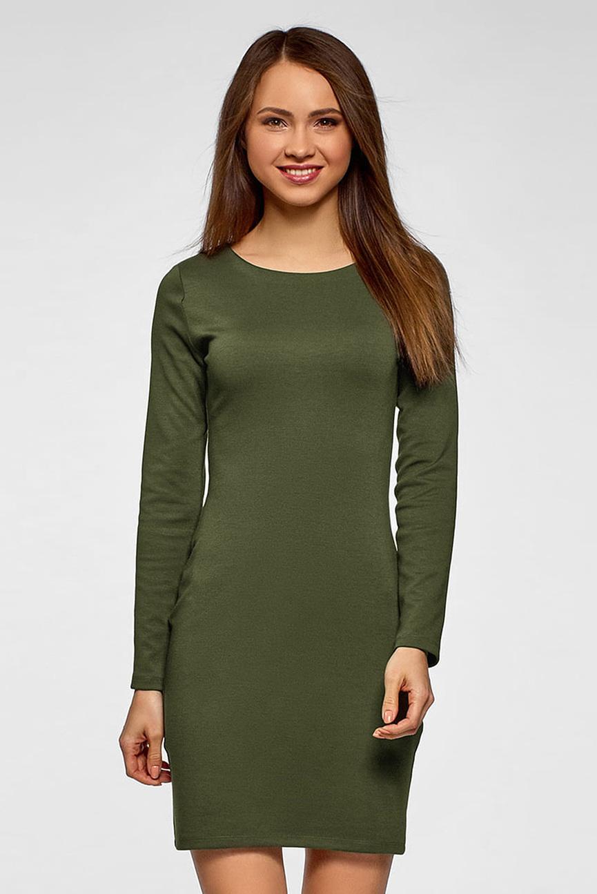 Женское оливковое платье