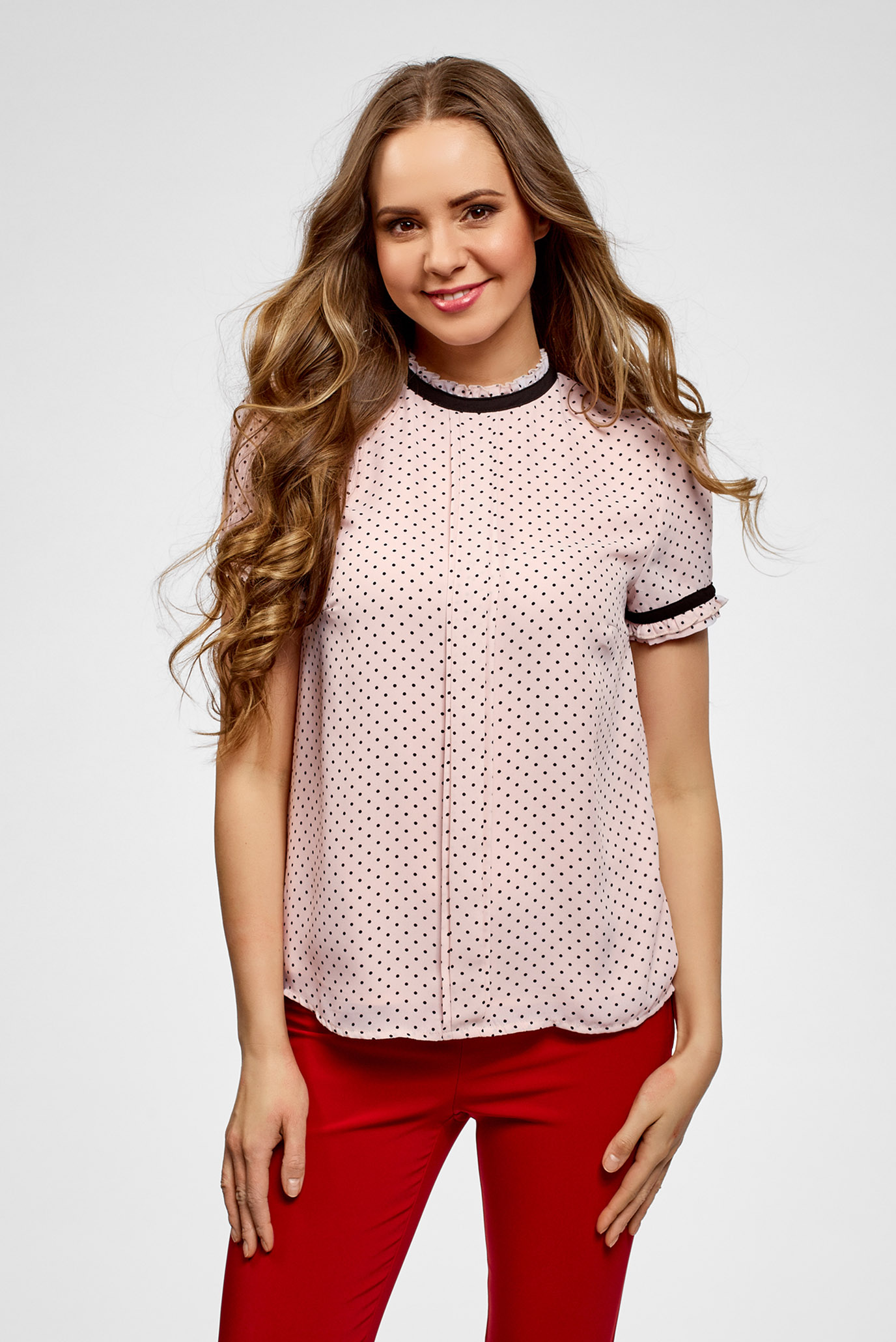 Купить Женская розовая блуза в горошек Oodji Oodji 11401272/36215/4029D – Киев, Украина. Цены в интернет магазине MD Fashion
