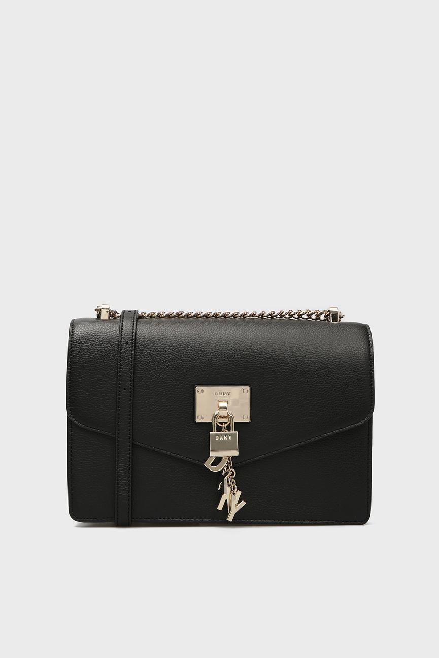 Женская черная кожаная сумка через плечо ELISSA-LG