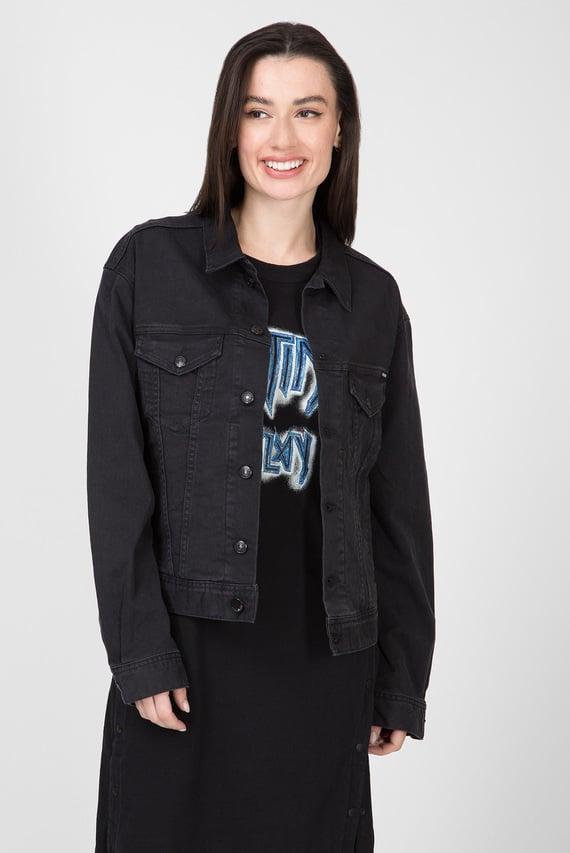 Женская черная джинсовая куртка 311 Premium Denim