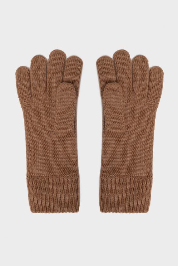 Женские светло-коричневые перчатки SOLID KNIT