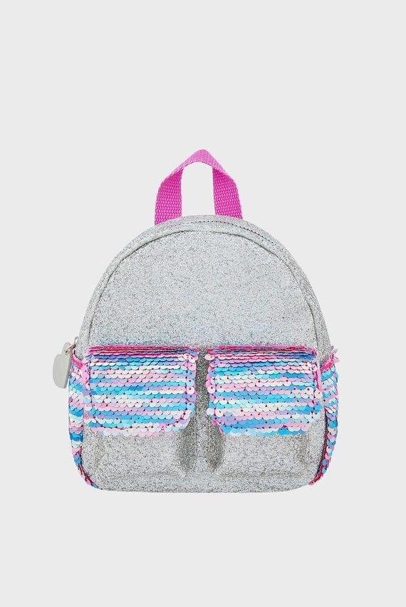 Детский серебристый рюкзак SEQUIN DOUBLE POCKET
