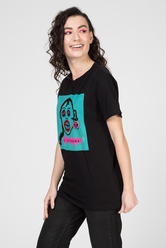 Женская черная футболка T-DARIA-K