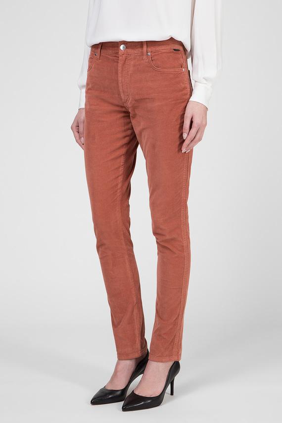 Женские рыжие вельветовые брюки
