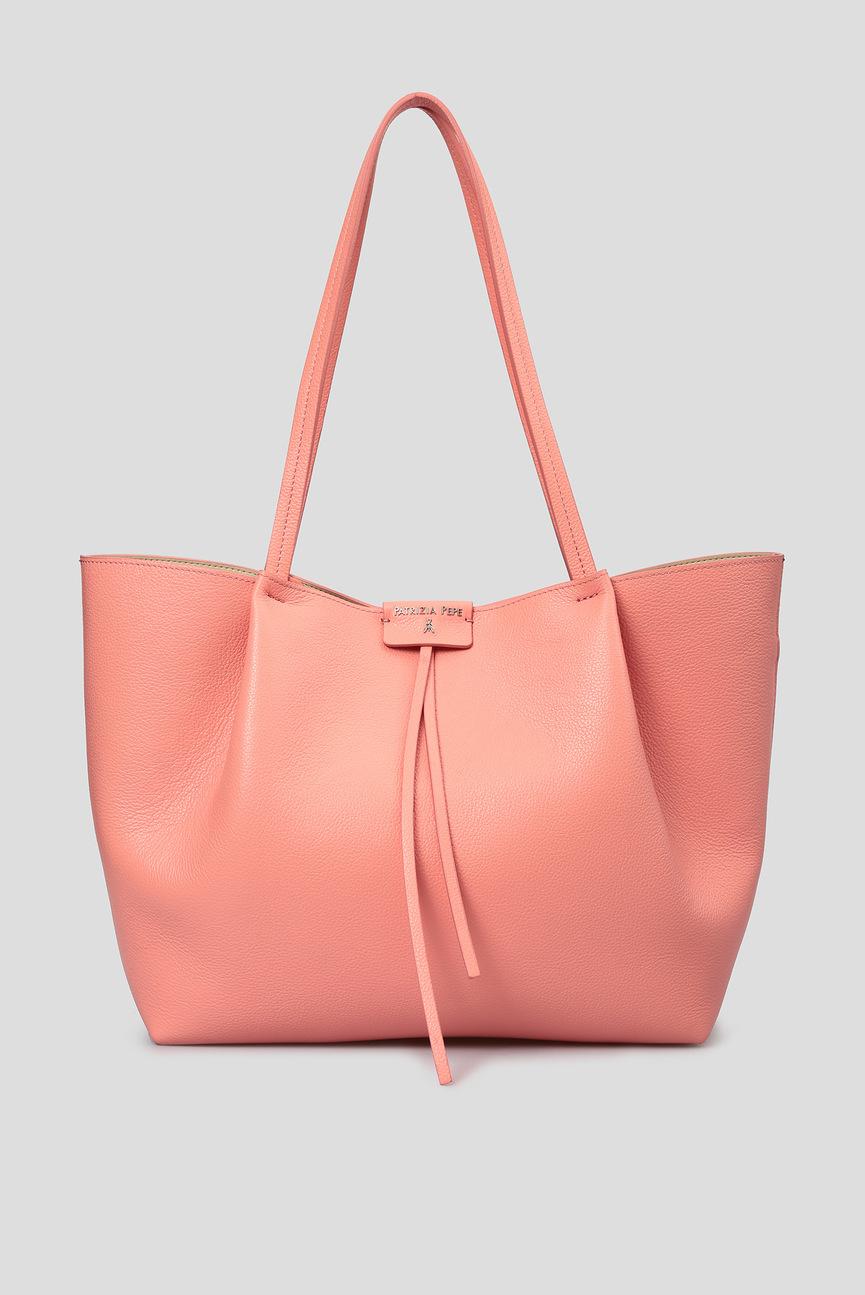 Женская коралловая кожаная сумка 2 в 1
