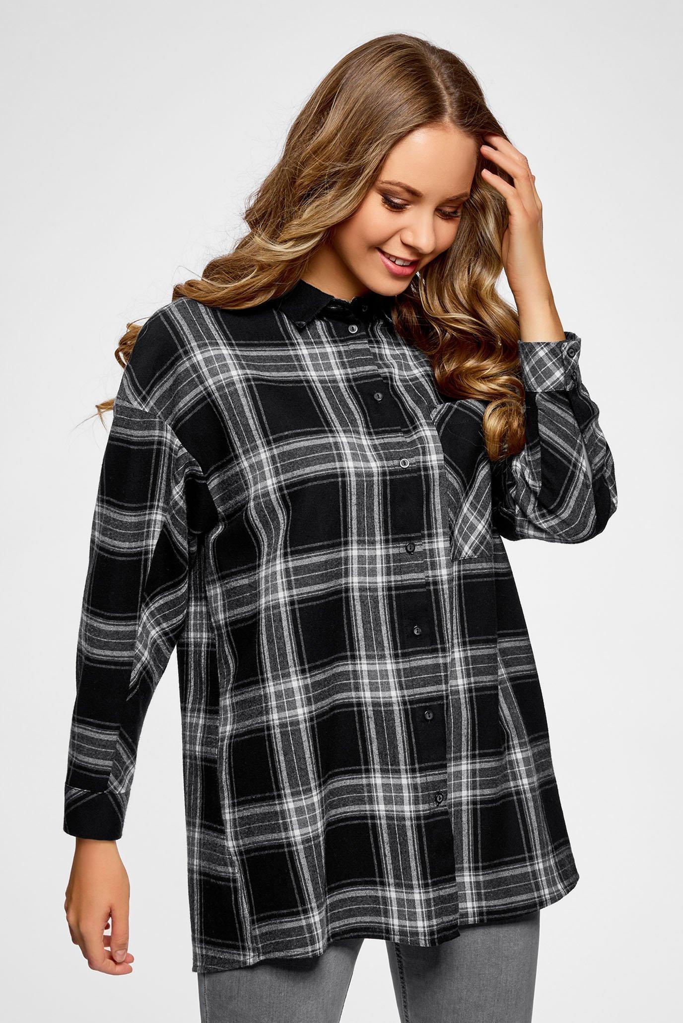 c577356b1 Купить Женская черная рубашка в клетку Oodji Oodji 11400432/43114/2925C –  Киев, Украина. Цены в интернет ...