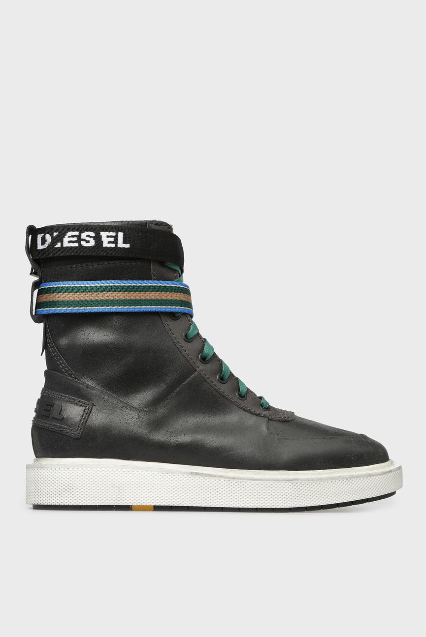 Мужские темно-серые кожаные ботинки CAGE